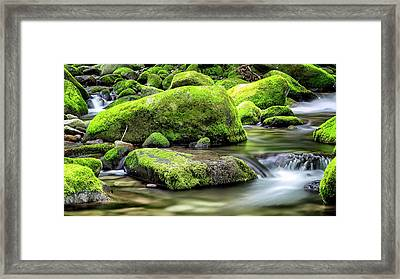 Roaring Fork Mossy Rocks Framed Print by Stephen Stookey