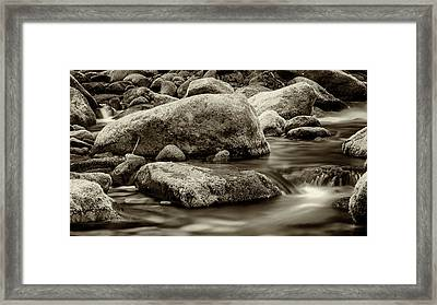 Roaring Fork Mossy Rocks - Strong Sepia Framed Print by Stephen Stookey