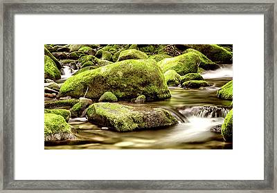 Roaring Fork Mossy Rocks - Toned Sepia Framed Print by Stephen Stookey
