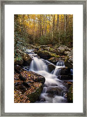 Roaring Fork Waterfall At Autumn Framed Print by Andrew Soundarajan