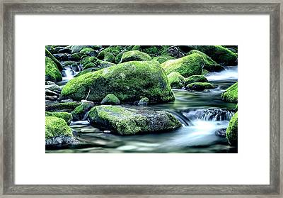 Roaring Forks Mossy Rocks - Muted Green Framed Print by Stephen Stookey
