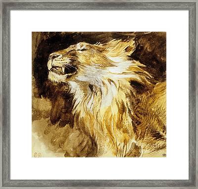 Roaring Lion Framed Print by Ferdinand Victor Eugene Delacroix