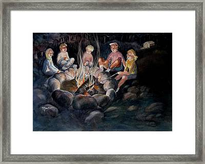 Roasting Marshmallows Framed Print by Marilyn Jacobson
