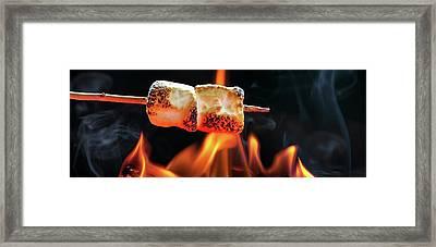 Roasting Marshmallows Over Campfire Horizontal Banner Framed Print by Susan Schmitz