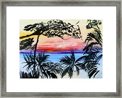 Roatan Sunset Framed Print