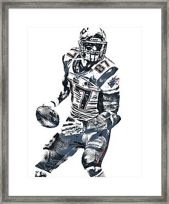 Rob Gronkowski New England Patriots Pixel Art 2 Framed Print by Joe Hamilton