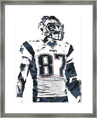 Rob Gronkowski New England Patriots Pixel Art 3 Framed Print by Joe Hamilton