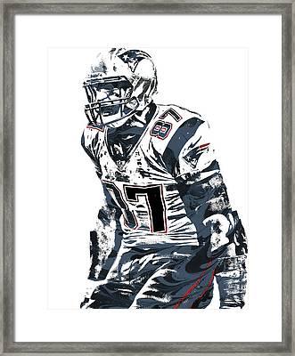 Rob Gronkowski New England Patriots Pixel Art 4 Framed Print by Joe Hamilton