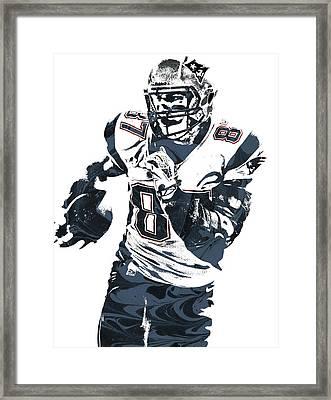 Rob Gronkowski New England Patriots Pixel Art 5 Framed Print by Joe Hamilton