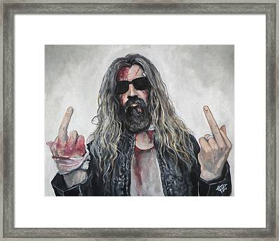 Rob Zombie Framed Print by Tom Carlton