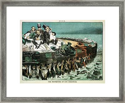 Robber Barons Crushing Workers Framed Print by Science Source
