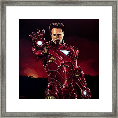 Robert Downey Jr. As Iron Man  Framed Print by Paul Meijering