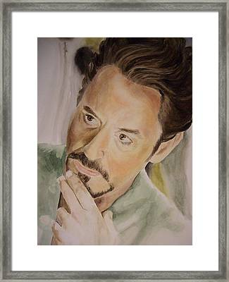 Robert Downey Jr Iron Man Framed Print by Angela Schwengler