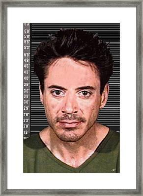 Robert Downey Jr Mug Shot 2001 Color Long Framed Print by Tony Rubino