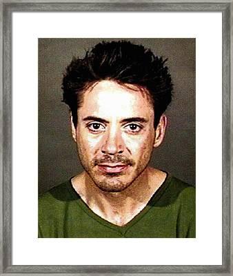 Robert Downey Jr - Mugshot Framed Print by Bill Cannon