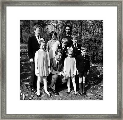 Robert F. Kennedy And Family, Top, L-r Framed Print by Everett