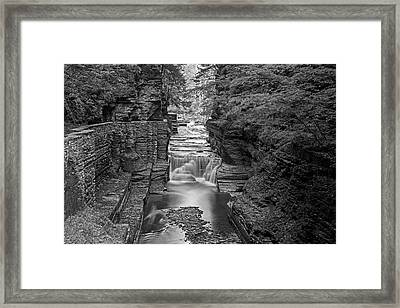Robert H. Treman State Park Canal 2 Ithaca Ny Black And White Framed Print