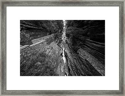 Robert H. Treman State Park Canal Ithaca Ny Black And White Framed Print