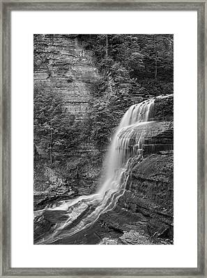 Robert H. Treman State Park Flowing Water Ithaca Ny Black And White Framed Print
