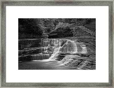 Robert H. Treman State Park Pathways Ithaca Ny Black And White Framed Print