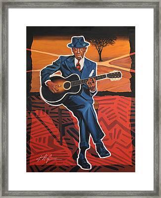 Robert Johnson Blues Legend Framed Print by Karl Melton
