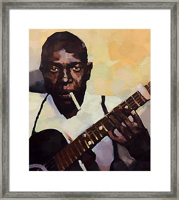 Robert Johnson Plays The Blues Framed Print by Dan Sproul
