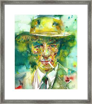 Framed Print featuring the painting Robert Oppenheimer - Watercolor Portrait.2 by Fabrizio Cassetta
