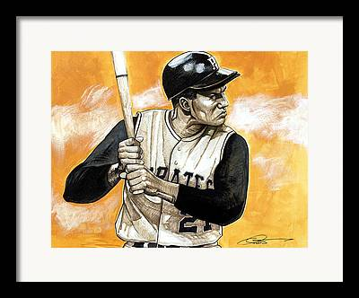 Puerto Rican Baseball Drawings Framed Prints