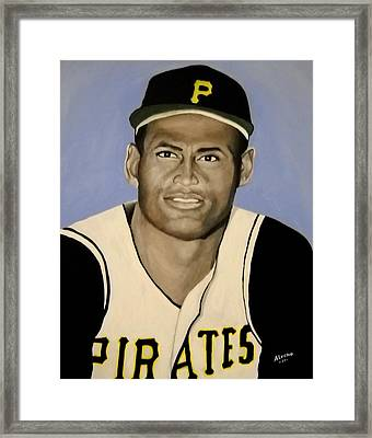 Framed Print featuring the painting Roberto Clemente by Edwin Alverio