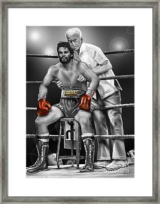 Roberto Red Gloves Of Gray  Framed Print by Reggie Duffie