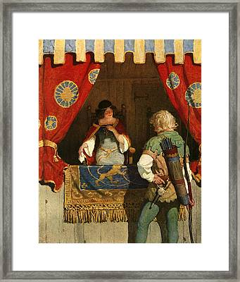 Robin Hood Meets Maid Marian Framed Print by Newell Convers Wyeth