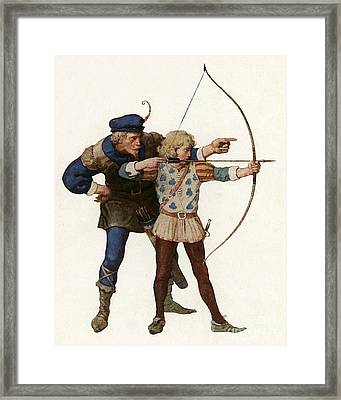 Robin Hood Trains A Young Archer Framed Print by Newell Convers Wyeth