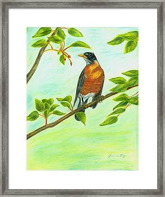 Framed Print featuring the painting Robin In Spring by Jeanne Kay Juhos