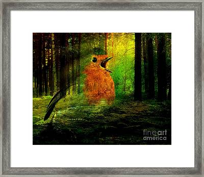 Robin In The Forest Framed Print