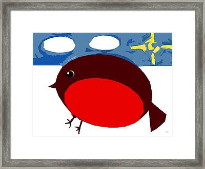 Robin In The Snow Framed Print by Patrick J Murphy