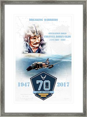 Robin Olds Breaking Barriers Framed Print by Peter Chilelli