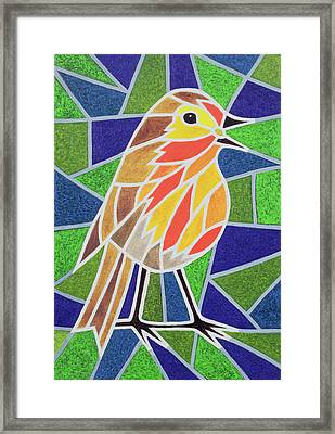 Robin On Stained Glass Framed Print by Pat Scott