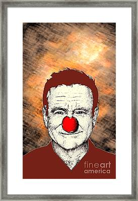 Framed Print featuring the drawing Robin Williams 2 by Jason Tricktop Matthews