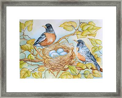 Robins Nest Framed Print