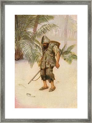 Robinson Crusoe Sees A Footprint In The Framed Print by Vintage Design Pics
