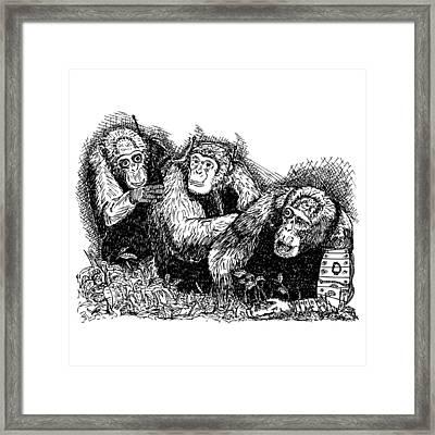 Robo Chimps Framed Print by Karl Addison