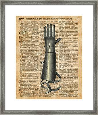 Robo Hand,artifical Arm Dictionary Art Framed Print by Jacob Kuch