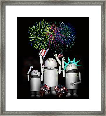 Robo-x9 And Family Celebrate Freedom Framed Print by Gravityx9  Designs