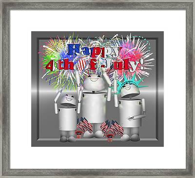Robo-x9 Celebrates Freedom Framed Print by Gravityx9  Designs