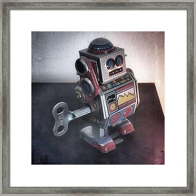 #robot #cyber #cyborg #steampunk Framed Print