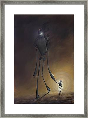 Robot Father And Son Framed Print by Austin Howlett