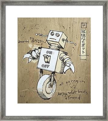 Robot Framed Print by H James Hoff