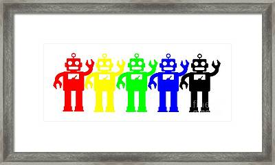 Robot Lives Matter Rainbow Tee Framed Print by Edward Fielding
