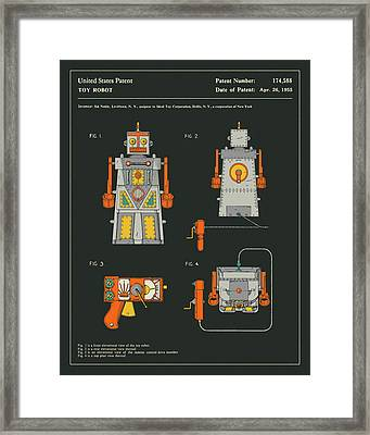 Robot Patent 1955 Framed Print by Jazzberry Blue