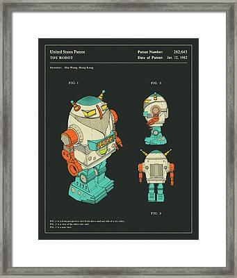 Robot Patent 1982 Framed Print by Jazzberry Blue